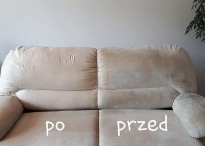 Pranie kanapy - efekt PRZED i PO