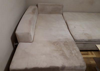 Brudna kanapa przed praniem